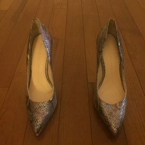 Snake Print Metallic Leather Pumps - Size 9